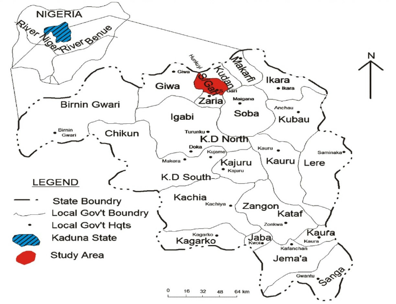 Map of Kaduna State Nigeria